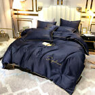 100% Cotton Luxury Duvet Cover+Fitted Sheet+Pillowcases Soft Bedding Set 3/4PCS