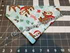 DOG BANDANA Over Collar XS-L SLOTHS IN SANTA HATS OR SCARVES Christmas FLANNEL