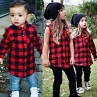 US Stock Baby Kids Boy Girl Long Sleeve Casual T Shirt Plaid Tops Blouse Clothes