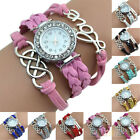 Women Retro Faux Leather Band Braid Bracelet Eight Love Heart Charm Wrist Watch image