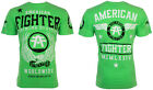 American Fighter Short Sleeve T-Shirt Mens FLY BY Neon Green S-3XL $40 NWT image