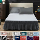 16'' Drop Bed Skirt Dressing Dust Ruffle Elastic Wrap Around Bed Solid Queen US image