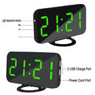 Dual USB Digital LED Clock Snooze Timer Mirror Automatic Dimming Alarm Clock
