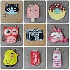 Cute Bag charm coin Purse keyring dangler 3 in 1 Unicorn Owl Cat Donut Coca Cola £3.2  on eBay