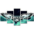5 Piece Canvas Wall Art American Football Logo Giclee Print Sporting Sign Poster