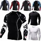 Mens Compression T-Shirt Thermal Base Layer Top Long Sleeve Sports Gym Quick Dry image