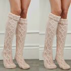 US STOCK Women Girl Wool Warm Knitted Over The Knee Socks Stockings Tights Thigh