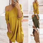 Women Mini Dress Pockets Long Sleeve Loose Fit Casual Plain Party Autumn Dresses