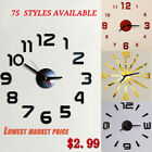 75 Style Modern Large Wall Clock 3D Mirror Sticker Unique Number Watch DIY Decor