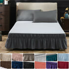 14'' 16'' 18'' Drop Bed Skirt Full Queen King Elastic Dust Ruffle Wrap Around US image