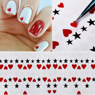3D Nail Stickers White Lace Heart Star Transfer Decals Decoration Nail Tips