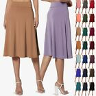 TheMogan Simple Foldover Stretch A-Line Flared Knee Length Skirt Comfy Stylish