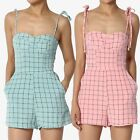 TheMogan Gingham Plaid Bustier Sweetheart Summer Cute Day To Night Play Romper