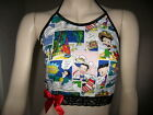 Red Betty Boop top Black White Lace Halterneck Crop Festival Party Retro Holiday $41.8 AUD on eBay