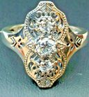 White Gems Sterling Silver Filigree Deco Gatsby Ring Size: Made To Order  172
