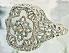 Art Deco Camphor Glass Sterling Silver 1930's Filigree Ring: Made To Order