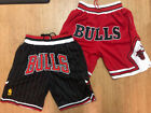 Chicago Bulls RED Throwback Just Don Mens Stitched Basketball Shorts Bulls FRONT on eBay