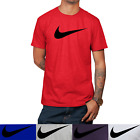 Nike Men's Short Sleeve Swoosh Logo Printed T-Shirt Gray Purple Blue White Red S image