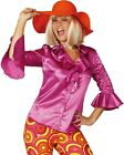 Ladies Pink Frilly 1970s 1960s Disco Hippy Shirt Fancy Dress Costume Outfit 8-20
