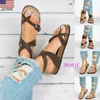Womens Slide Buckle T-Strap Cork Flat Flops Flip Platform  Sandals Footbed Shoes