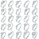 Antique Women Party Stunning Cubic Zirconia Crystal Silver Tone Eternity Rings