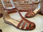 Isaac Mizrahi Lt Brown Leather Julia T-Strap Fisherman Sandal NEW