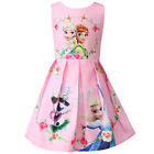 UK Kids Girls Anna Elsa Princess Printed A-Line Dress Party Prom Gown Drrsses