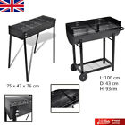 BBQ Stand Charcoal Barbecue Rectangular Steel Grill Outdoor Wheels 75 x 28 cm