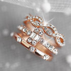 Set of 3 Rings Crystal Rhinestone Diamond Wedding Engagement Womens Jewelry YO