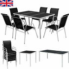 Outdoor Dining Set 5/7/9 Pieces Table + Stackable Chair Garden Patio Furniture