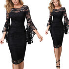 Womens Ruched Bell Sleeve Lace Solid Formal Evening Cocktail Party Bodycon Dress