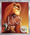 The Lion King (Blu-ray/DVD, 2017, 2-Disc Set 2017)BRAND NEW!! FREE SHIPPING!!!