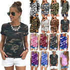Womens Short Sleeve Camo T Shirt Crew Neck Blouse Summer Casual Loose Tunic Tops