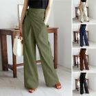 Womens High Waist Wrap Pants Casual Loose Yoga Holiday Wide Leg Palazzo Trousers