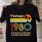 Vintage 1980 Clothes 40 Years Old Retro 40th Birthday Gift T-Shirt image