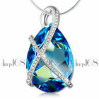 18K White Gold Filled Tarnish-Free 25*10mm Blue Crystal Pendant +Necklace Chain image