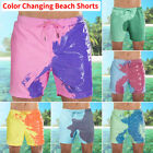 Mens Swim Shorts Swimwear Swim Trunks Color changing Board Shorts Bathing Suit
