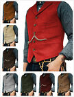 Mens Vintage Tweed Waistcoat Vest Wool Herringbone Notch Lapel Slim Fit S-XL-3XL