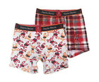 Psycho Bunny Men's Red Multi Comfort Knit Boxer Brief 2 Pack Gift Set