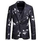 Men's 3PCS Suit Blazers Tuxedo Slim Fit Groom Wedding Dinner One Button Formal