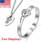 Couples Bracelet Love Heart Lock Bangle and Key Pendant Necklace Set Lover Gift