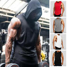 Mens Muscle Hoodie Top Bodybuilding Sleeveless Gym Tank Top Hooded Vest T Shirt