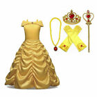 Girls Dress Princess Fancy Belle Beauty Beast Kids Child Belle Halloween Costume