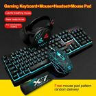Wired Gaming Keyboard+Mouse+Mice Pad+Headset Set Backlight Ergonomic Mechanical