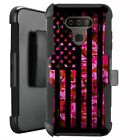 Holster Case for LG Harmony 4/ Premier Pro Plus Phone Cover - PINK CAMO US FLAG