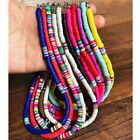 Boho Polymer Clay Choker Necklace 6mm Beads Round Multi-color Flat Women Jewelry