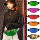 Women Shiny Leather Chest Bag Casual Sports Fanny Shoulder Crossbody Pack Pouch