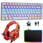 3in1 Mechanical Gaming Rainbow LED Backlit Keyboard RGB Mousepad + Headset Combo