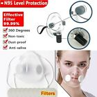 Reusable Masks Silicone Clear Mouth Cover Purify Respirator With Filters Pad Us