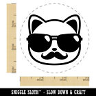 Cool Cat with Sunglasses and Mustache Rubber Stamp Stamping Crafting Planners